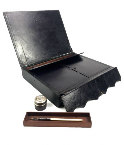 Antique Leather Case / Briefcase / Work Bag / Inkwell / Wooden Stationary Box